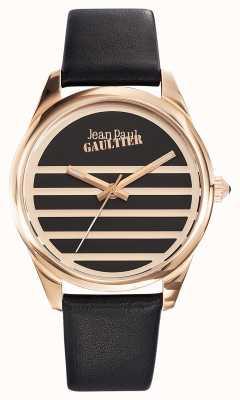 Jean Paul Gaultier Quadrante nero cinturino in pelle nera JP8502410