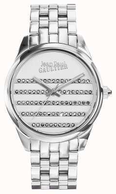 Jean Paul Gaultier Quadrante bianco del braccialetto dell'acciaio inossidabile del blu marino JP8502404
