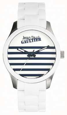 Jean Paul Gaultier (senza scatola) braccialetti terribles in acciaio con gomma bianca JP8501120