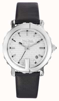 Jean Paul Gaultier Punto donna g quadrante argentato in pelle nera JP8500515