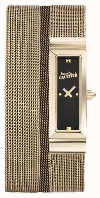 Jean Paul Gaultier Quadrante nero del braccialetto della maglia della pvd dell'oro della cote de maille delle donne JP8503903