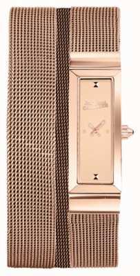 Jean Paul Gaultier Il quadrante di rosa del braccialetto della maglia del pvd dell'oro di rosa della donna delle cime de maille delle donne JP8503906