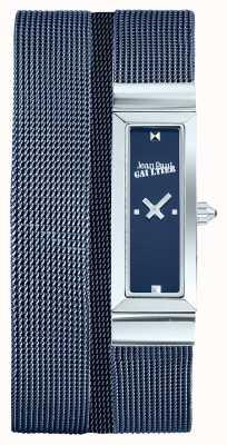 Jean Paul Gaultier Quadrante blu del braccialetto della maglia del pvd delle donne della cote de maille delle donne JP8503904