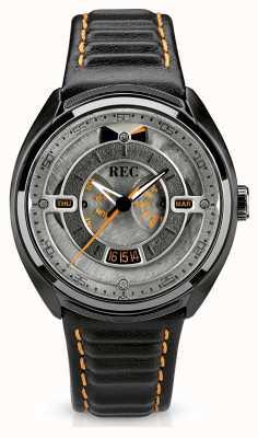 REC Quadrante grigio automatico con cinturino in pelle nera Porsche p-901-03