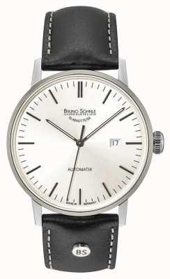 Bruno Sohnle Stoccarda grande vigilanza di cuoio nera automatica di 44 millimetri in argento 17-12173-247