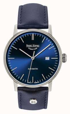 Bruno Sohnle Stoccarda grande orologio in pelle blu 44mm automatico 17-12173-341