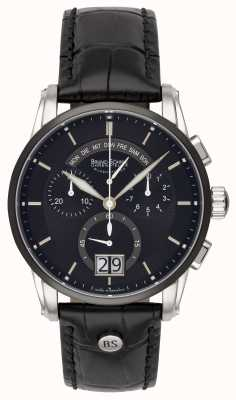 Bruno Sohnle Grande orologio in pelle nera 42,5 mm 17-73117-741