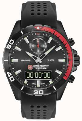 Swiss Military Hanowa Silicone nero in quadrante nero multimissiono 06-4298.3.13.007