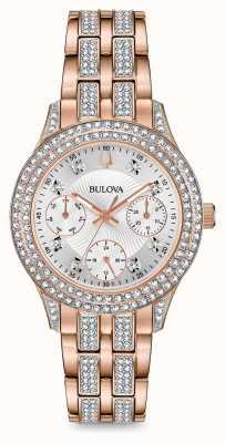Bulova Orologio da donna in cristallo tono oro rosa 98N113