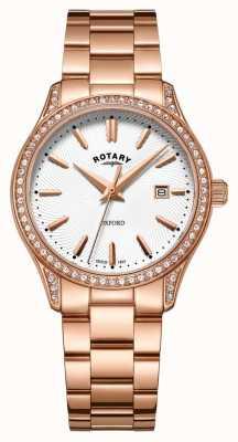 Rotary Orologio al quarzo da donna in acciaio inossidabile oro rosa oxford LB05096/02
