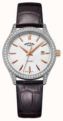 Rotary Orologio da donna al quarzo in acciaio inossidabile con cinturino in pelle oxford LS05092/02