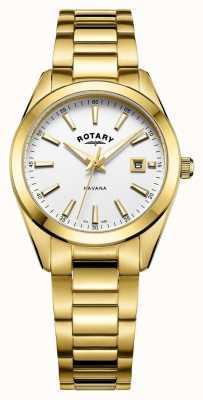 Rotary Orologio bianco placcato oro avana da donna LB05081/02