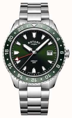 Rotary Orologio da uomo al quarzo in acciaio inossidabile verde henley GB05108/24