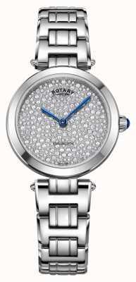 Rotary kensington pave orologio al quarzo in acciaio LB05190/33