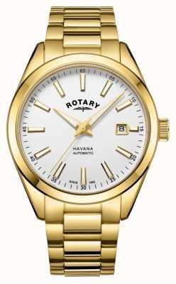 Rotary Mens havana argento bianco orologio in acciaio inossidabile GB05081/02