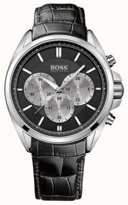 Hugo Boss Orologio cronografo da uomo in pelle nera 1512879