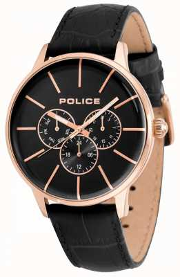 Police Quadrante nero con cinturino in pelle nera da uomo 14999JSR/02