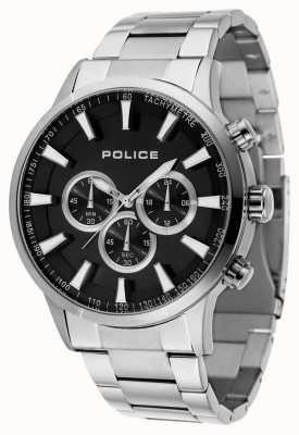 Police Quadrante nero del braccialetto dell'acciaio inossidabile del mens 15000JS/02M