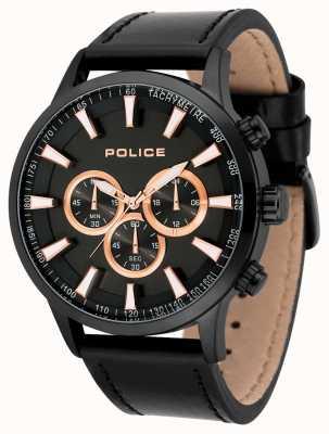 Police Quadrante nero della cinghia in pelle nera 15000JSB/02