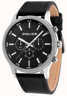 Police Quadrante nero cinturino in pelle nero 15002JS/02