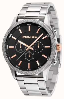 Police Quadrante nero in bracciale in acciaio inossidabile 15002JS/02M