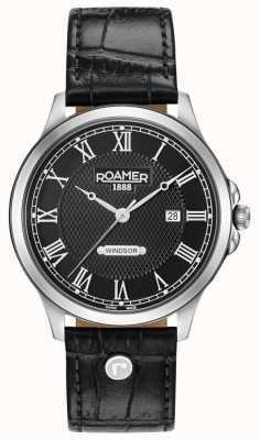 Roamer Cinturino in pelle nera con quadrante nero Windsor 706856415207
