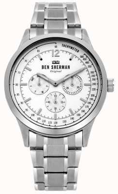 Ben Sherman Quadrante multifunzione bianco bracciale in argento WB073SM