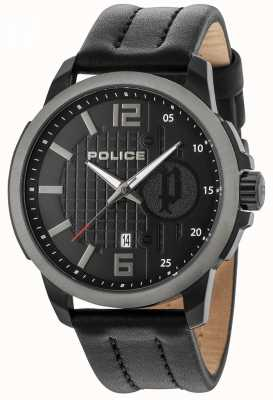 Police Cinturino in pelle nera con quadrante nero 15238JSBU/02