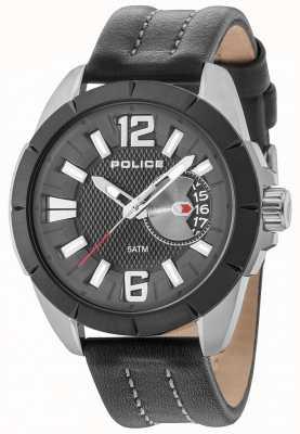 Police Cinturino in pelle quadrante nero con quadrante nero 15240JSUB/02