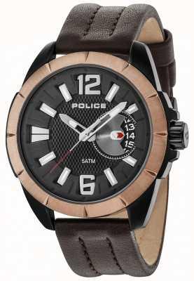 Police Cinturino in pelle marrone quadrante nero 15240JSBBN/02