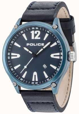 Police Cinturino in pelle quadrante blu con quadrante blu 15244JBBL/03