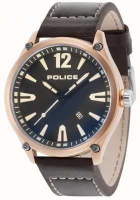 Police Cinturino in pelle quadrante nero con quadrante nero 15244JBR/02
