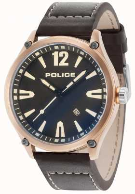 Police Cinturino in pelle nera cinturino oro rosa uomo 15244JBR/02