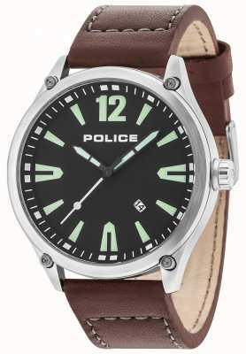 Police Cinturino in pelle quadrante nero con quadrante argentato per uomo 15244JBS/02