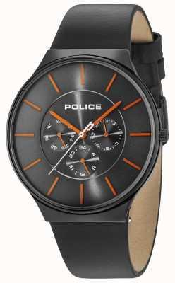 Police Tracolla nera in pelle nera con quadrante grigio 15044JSB/13A