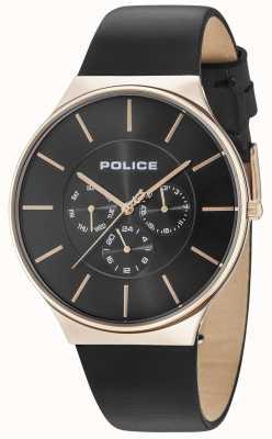 Police Cassa in oro rosa Seattle quadrante nero cinturino in pelle nera 15044JSR/02