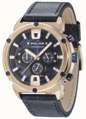 Police Cassa in oro rosa con armatura in oro blu con quadrante blu scuro 15047JSR/03