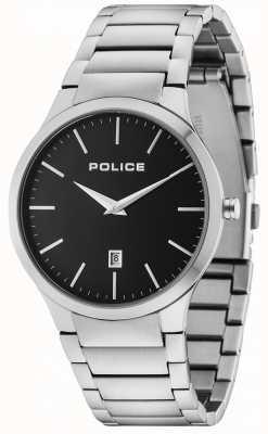 Police Quadrante nero con quadrante argentato 15246JS/02M