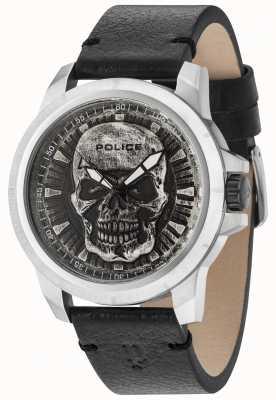 Police Reaper cinturino in pelle nera cinturino in argento 14385JS/57