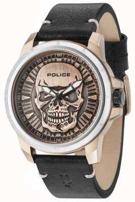 Police Reaper cinturino in pelle nera cinturino in bronzo 14385JSTR/62