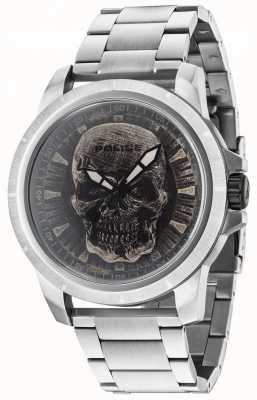 Police Quadrante del cranio d'argento del braccialetto d'argento di Reaper 14385JS/57M