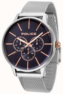 Police Bracciale Swift in maglia oro rosa con quadrante nero 14999JS/03MM