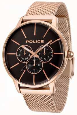 Police Bracciale Swift in maglia oro rosa con quadrante nero 14999JSR/02MM