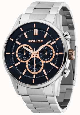 Police Bracciale Rush in acciaio inossidabile con quadrante blu scuro 15001JS/03M