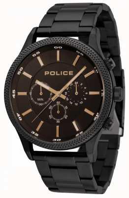 Police Bracciale nero Pace con quadrante nero 15002JSB/02M