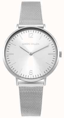 Karen Millen Quadrante sunray bianco con cinturino in acciaio inossidabile KM163SM