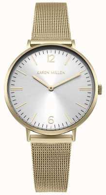 Karen Millen Quadrante sunray bianco con cinturino in acciaio inossidabile dorato KM163GM