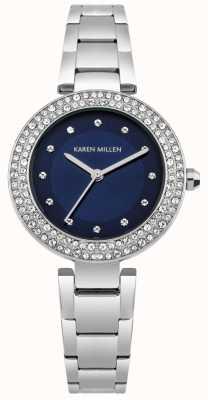 Karen Millen Quadrante sunray blu navy con cinturino bombato in acciaio inossidabile KM164USM