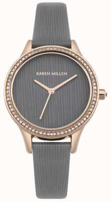 Karen Millen Quadrante strutturato in pelle grigia KM165ERG