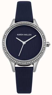 Karen Millen Quadrante strutturato in pelle blu navy KM165U